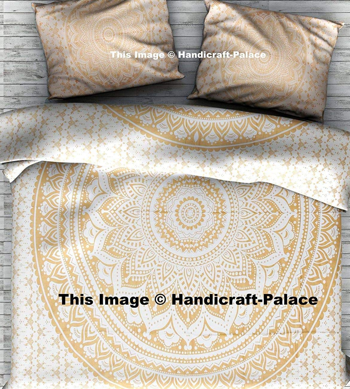 Gold Ombre Mandala Duvet Cover By ''Handicraft-Palace'' ,Boho Queen Duvet Cover, Bohemian Bedspread Ethnic Cotton Handmade With Pillow Case by Handicraft-Palace (Image #1)