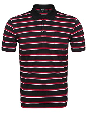 Coofandy Men's Short Sleeve Striped Classic-Fit Golf Polo Shirt