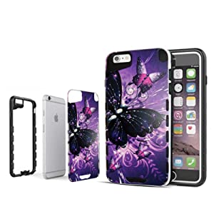 Hybrid Multi Purple Butterfly For iPhone 6 Plus & 6S Plus Advanced Ultra Shock Proof Lightweight case Drop Protective Case Cover TPU+PC Case Shock Absorb Enhanced Bumper Case Dual Layer Design