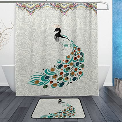 Amazon ALAZA Elegant Vintage Peacock Shower Curtain Polyester