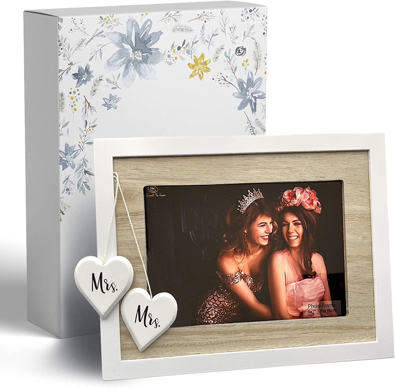 No Limit to Love Mrs & Mrs 5x7 Picture Frame - White Picture Frames with Hearts, Lesbian Couple Gifts - Mrs and Mrs Lesbian Wedding Gift