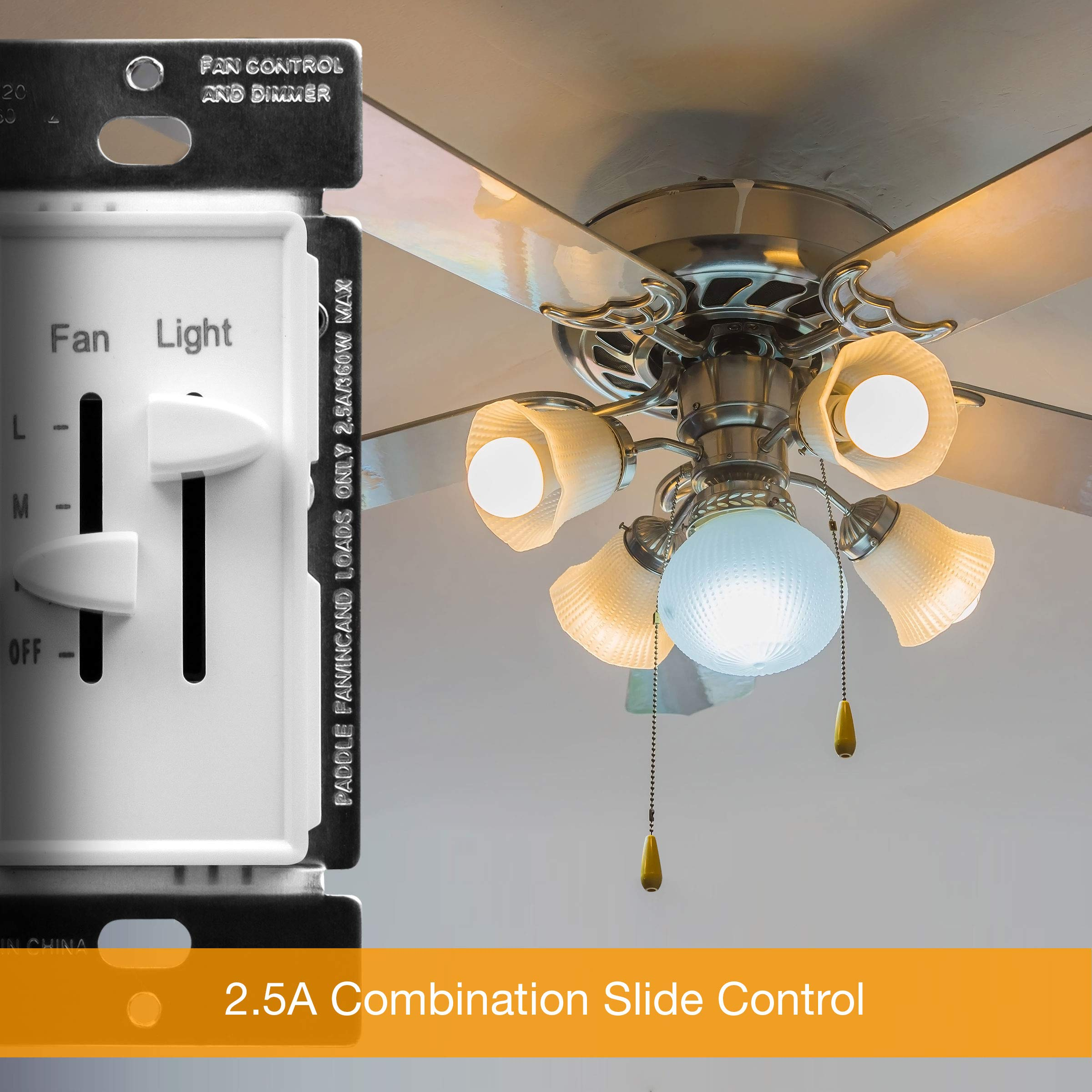 ENERLITES 3 Speed Ceiling Fan Control and LED Dimmer Light Switch, 2 5A  Single Pole Light Fan Switch, 300W Incandescent Load, No Neutral Wire