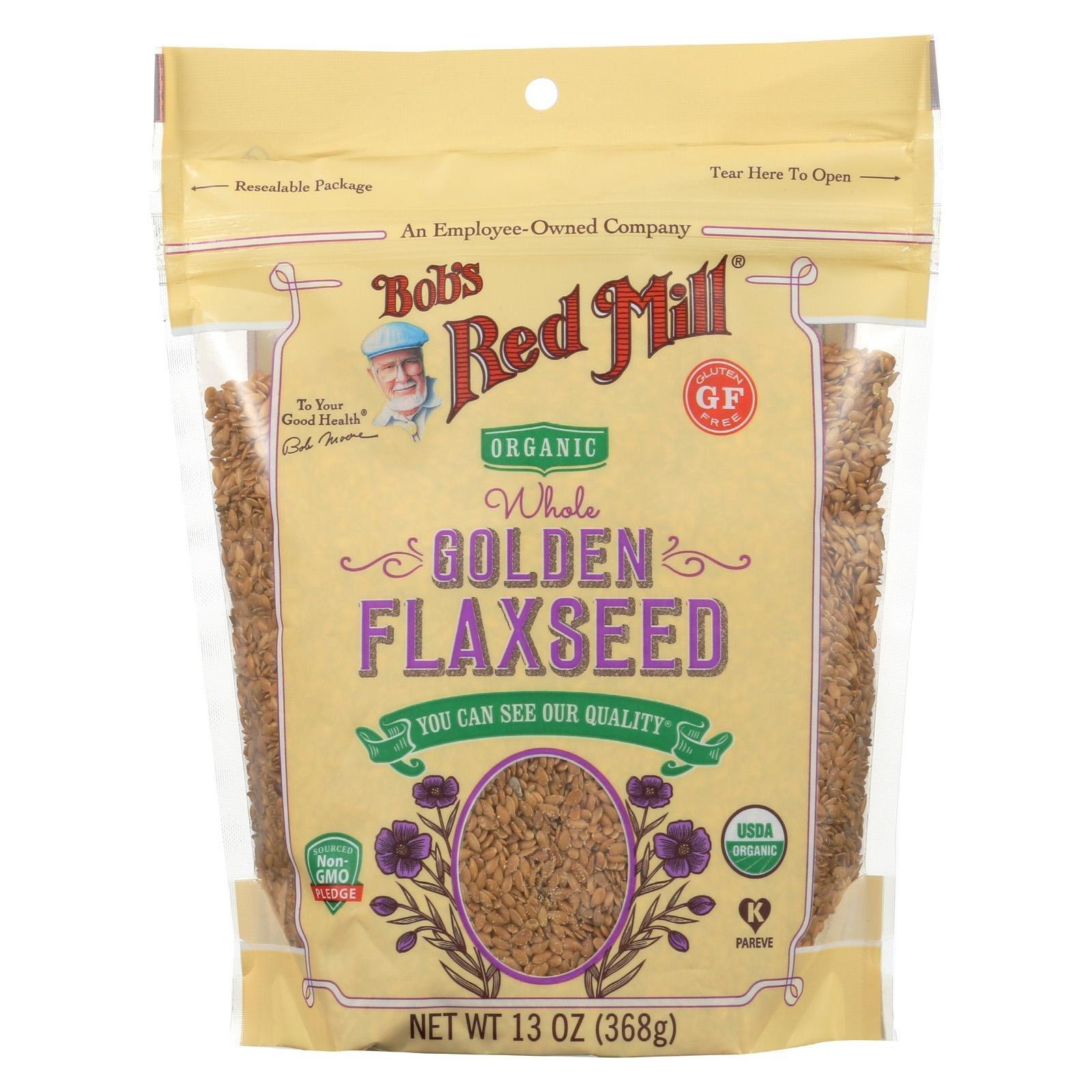 BOB'S RED MILL, Organic Flaxseed, Golden, Pack of 6, Size 13 OZ, (Gluten Free Kosher 95%+ Organic)