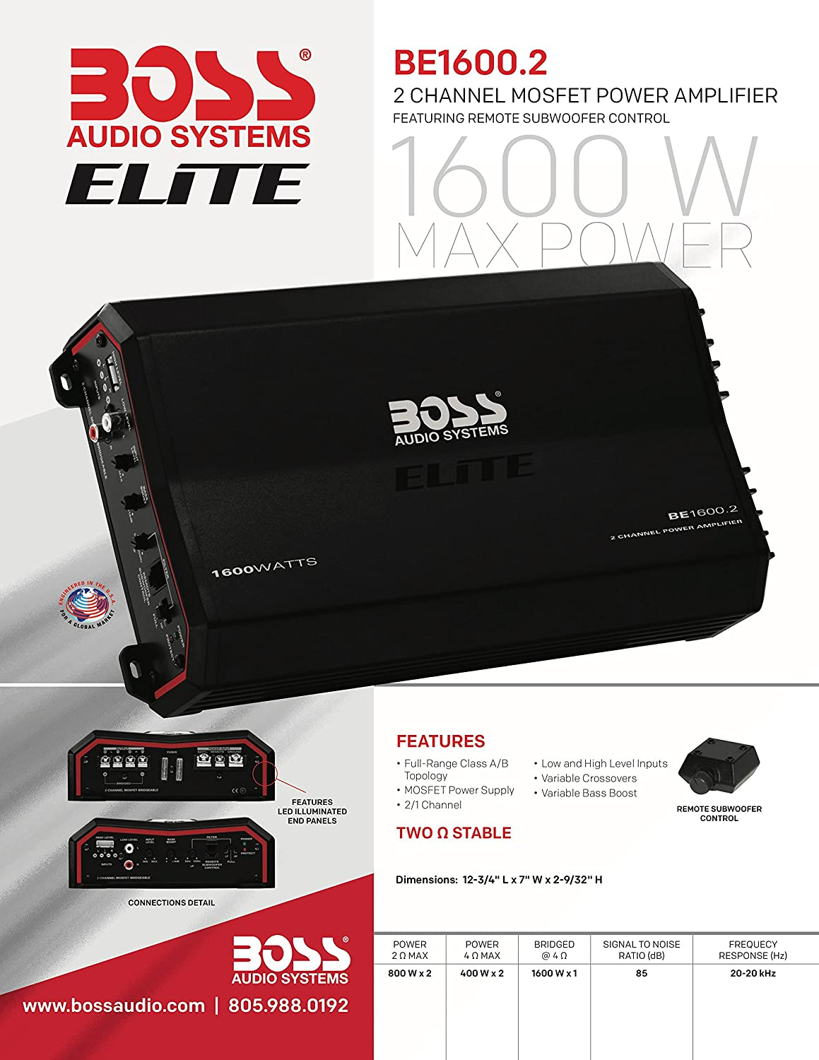 Boss Audio Elite Be16002 1600 Watt 2 Channel Amplifier With Remote Cell Phones Accessories