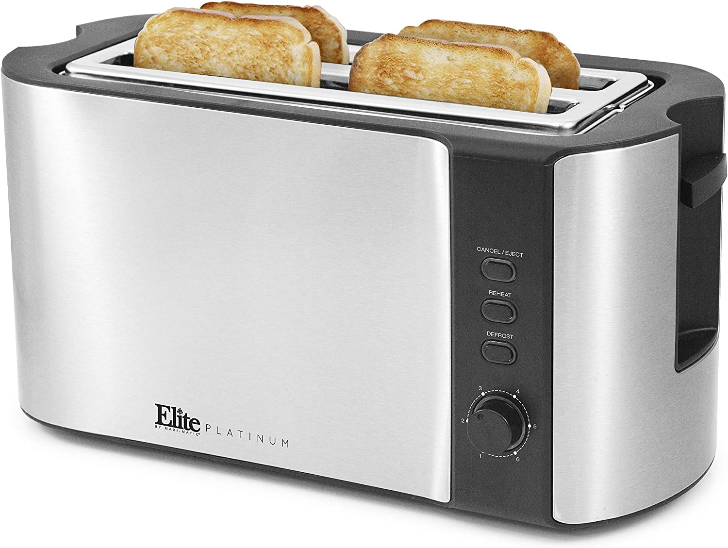 Elite Platinum ECT-3100 Stainless Steel Long Slot Toaster, Bagels, Specialty Breads Reheat, Cancel & Defrost Settings, 4 Slice, 1300 Watts, Stainless Steel & Black (Renewed)