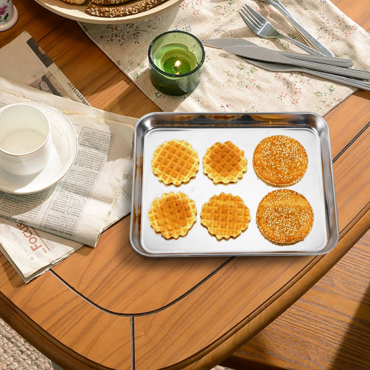 Stainless Steel Baking Sheets, HKJ Chef Baking Pans & Cookie Sheets for Oven & Mini Toaster Oven Tray Pans & Non Toxic & Healthy,Superior Mirror & Easy Clean by HKJ Chef (Image #7)
