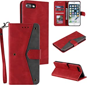 EYZUTAK Splicing PU Leather Case for iPhone 7 Plus iPhone 8 Plus, Retro Full Protection Premium Flip Cover Wallet Case with Magnetic Closure Kickstand Card Slots - Red