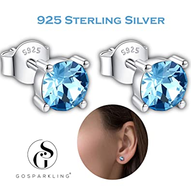 81cf64d67dc77 Swarovski Stud Earrings- 925 Sterling Silver- Pierced Earrings For Women-  100% Swarovski Crystal By GoSparkling Allergy-Free Passed SGS Inspection