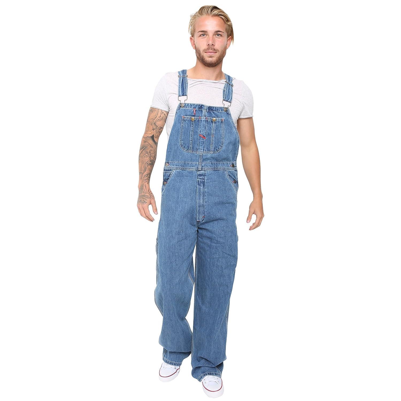 Skylinewears Mens Adjustable Straps Unlined Cotton Denim Washed Multiple Pockets Bib Overall
