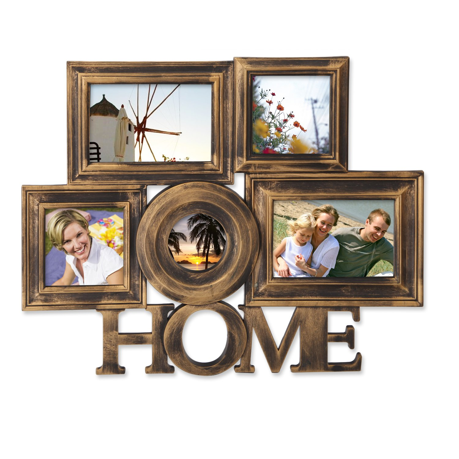 Adeco 5 Openings Anqtique Bronze ''Home'' Wall hanging Family Collage Picture Photo Frame - Made to Display Two 4x6, Two 4x4, One 3x3 Photos