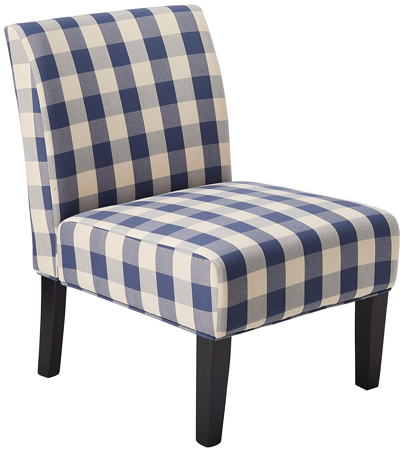 Christopher Knight Home 306532 Kendal Accent Chair Upholstered Farmhouse-Style Blue Checkerboard Matte Black Rubberwood Legs