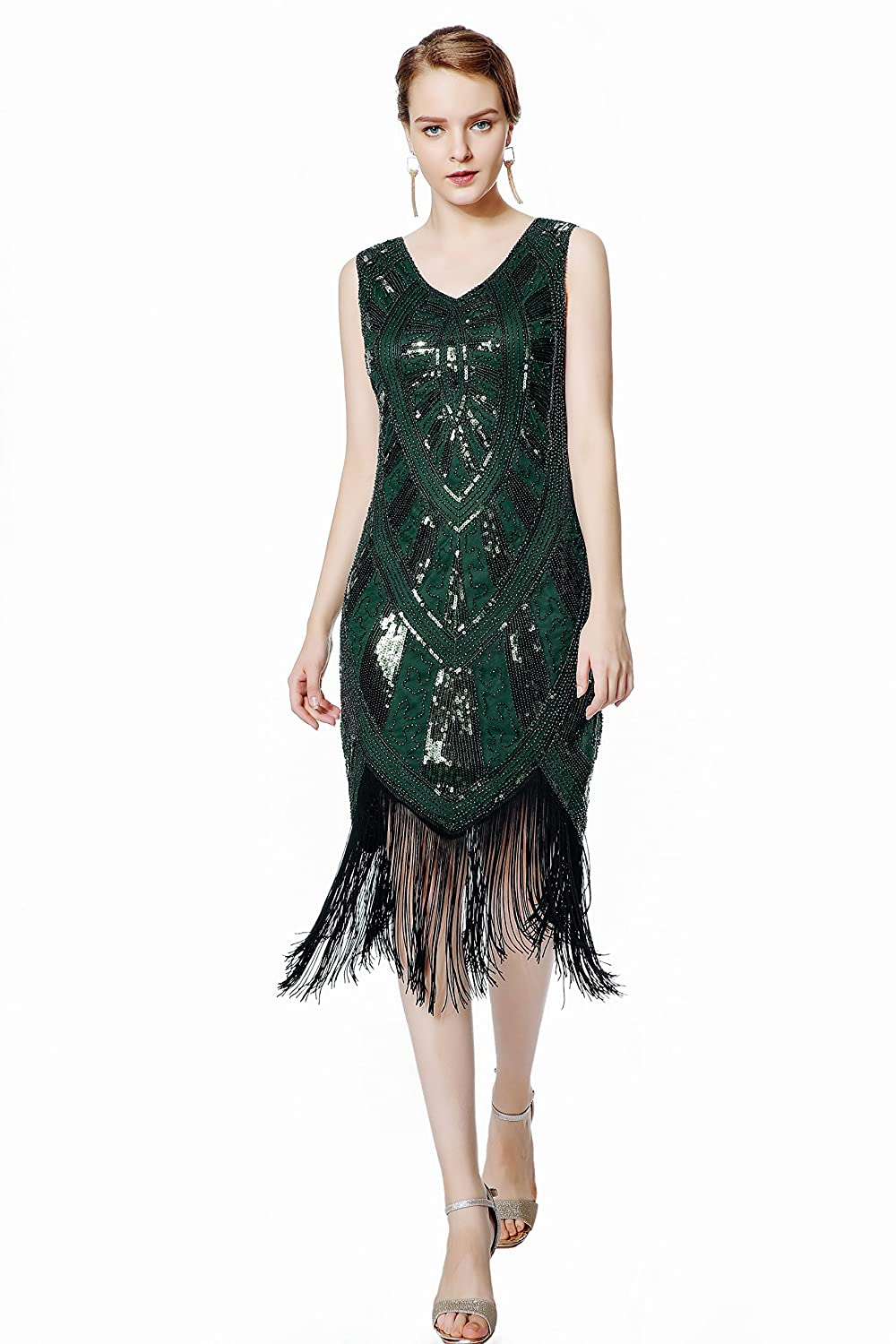 a53b463dfbf 1920s Clothing Metme 1920s Inspired Fringe Embellished Gatsby Flapper Midi  Dress Prom Party £49.99 AT