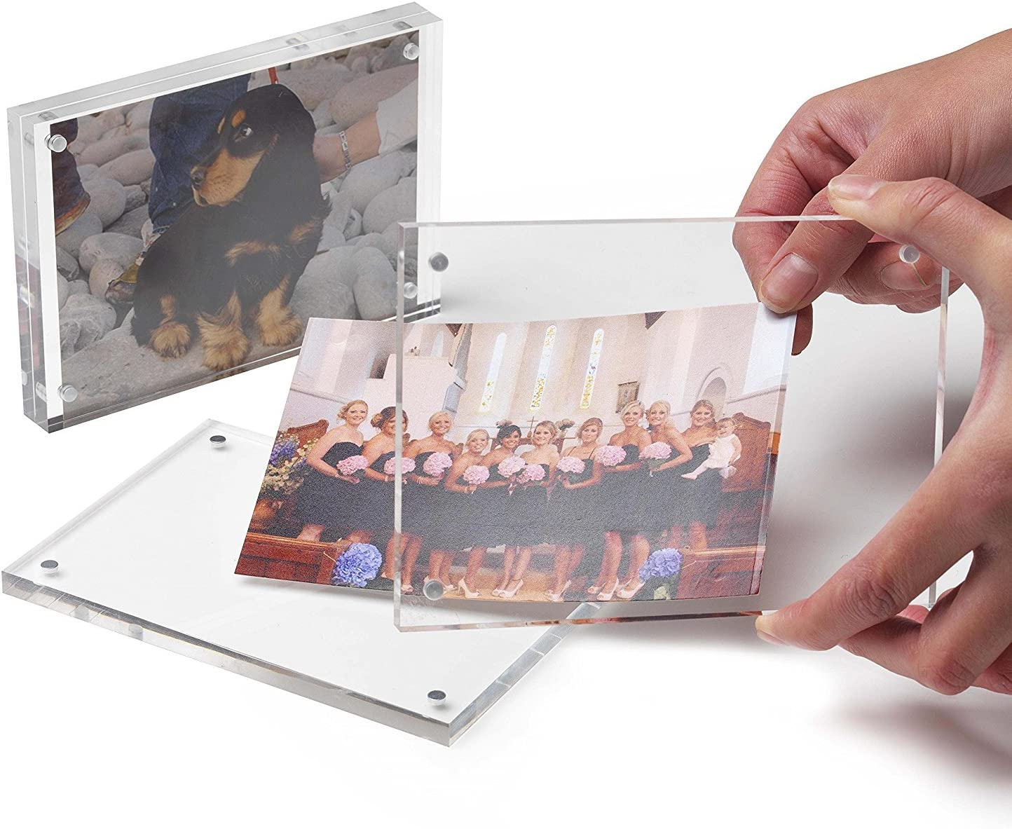 Free Standing Magnetic Acrylic Photo Frame 5//6//7//8 inch Transparent Clear Block