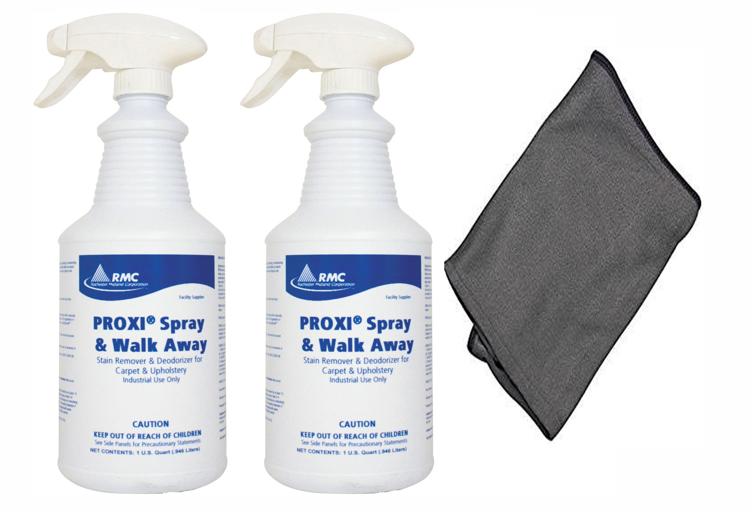 RMC Proxi Spray & Walk Away Spot Removal (2-Pack) Stain Remover Deodorizer Carpet Cleaner and Upholstery + Large 16 x 16 Microfiber Cleaning Cloth - RCMPC11849315-32oz