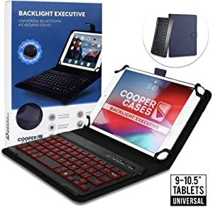 Cooper Backlight Executive Keyboard Case for 9-10.5 inch Tablets | Universal Fit | 2-in-1 Bluetooth Keyboard & Leather Folio, 7 Color Backlit (Blue)