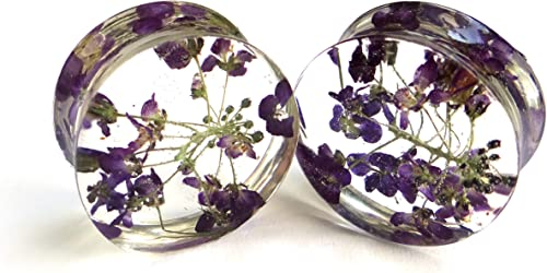 pressed flowers resin plugs real flower Gauges Plugs Gauge Plug Earrings ear plug natural plugs purple gauge flower ear tunnel floral Plug