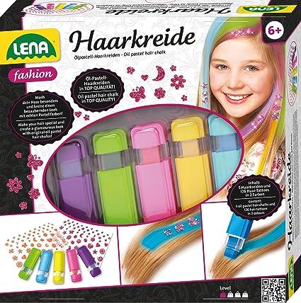 Lena 42536 - Fashion Set Haarkreide und Haartattoos, Komplettset zum Stylen und Färben von Mädchenhaaren mit Ölkreide in 5 Pa