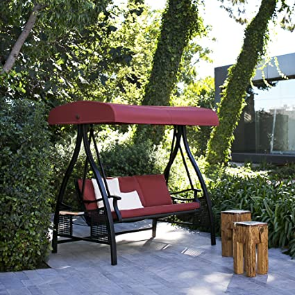 abba patio 3 person outdoor metal gazebo padded porch swing hammock with adjustable tilt canopy amazon     abba patio 3 person outdoor metal gazebo padded porch      rh   amazon
