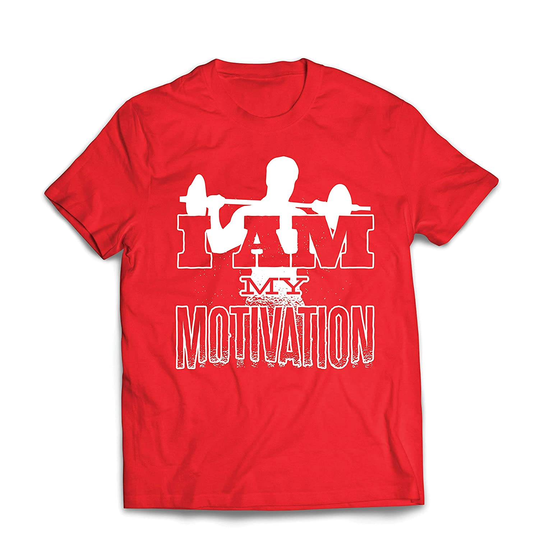 lepni.me Mens T-Shirt I Am My Motivation Weightlifting Squat Deadlift