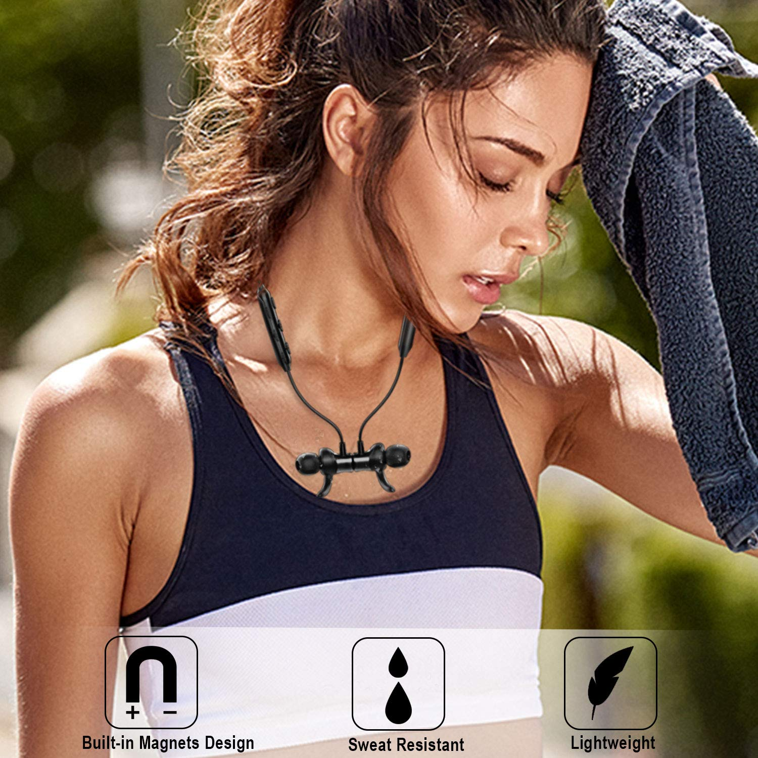 Bluetooth Headphones, Akface Wireless Earbuds Sweatproof Sport Earphones w/Mic Bluetooth 5.0 Fast Pairing HD Stereo Noise Canceling Magnetic in-Ear Headsets for Gym Running Workout Men Women Students by akface (Image #5)
