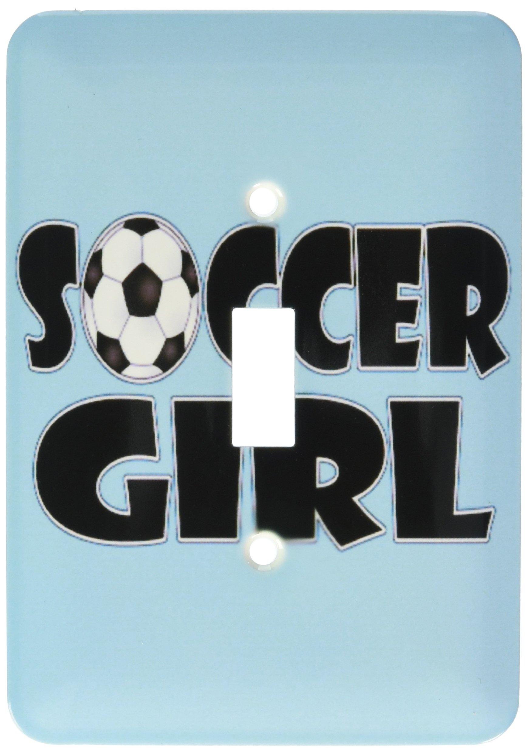 3dRose lsp_181850_1 Soccer Girl Black and Aqua Blue - Single Toggle Switch