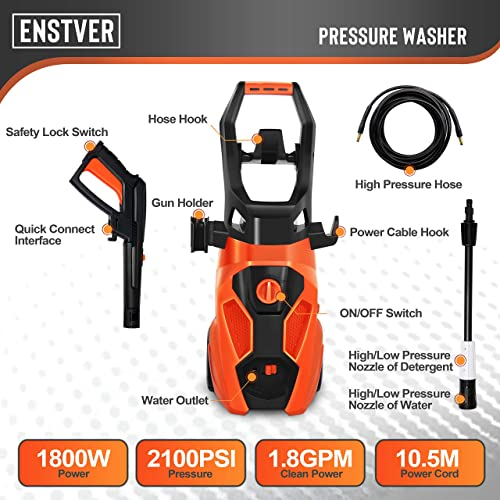 ENSTVER Electric Pressure Washer,2100PSI 1.8 GPM 1800W Power Cleaner Machine Hose Reel,Spray Gun,Spray Brush,Nozzles Onboard Detergent Tank