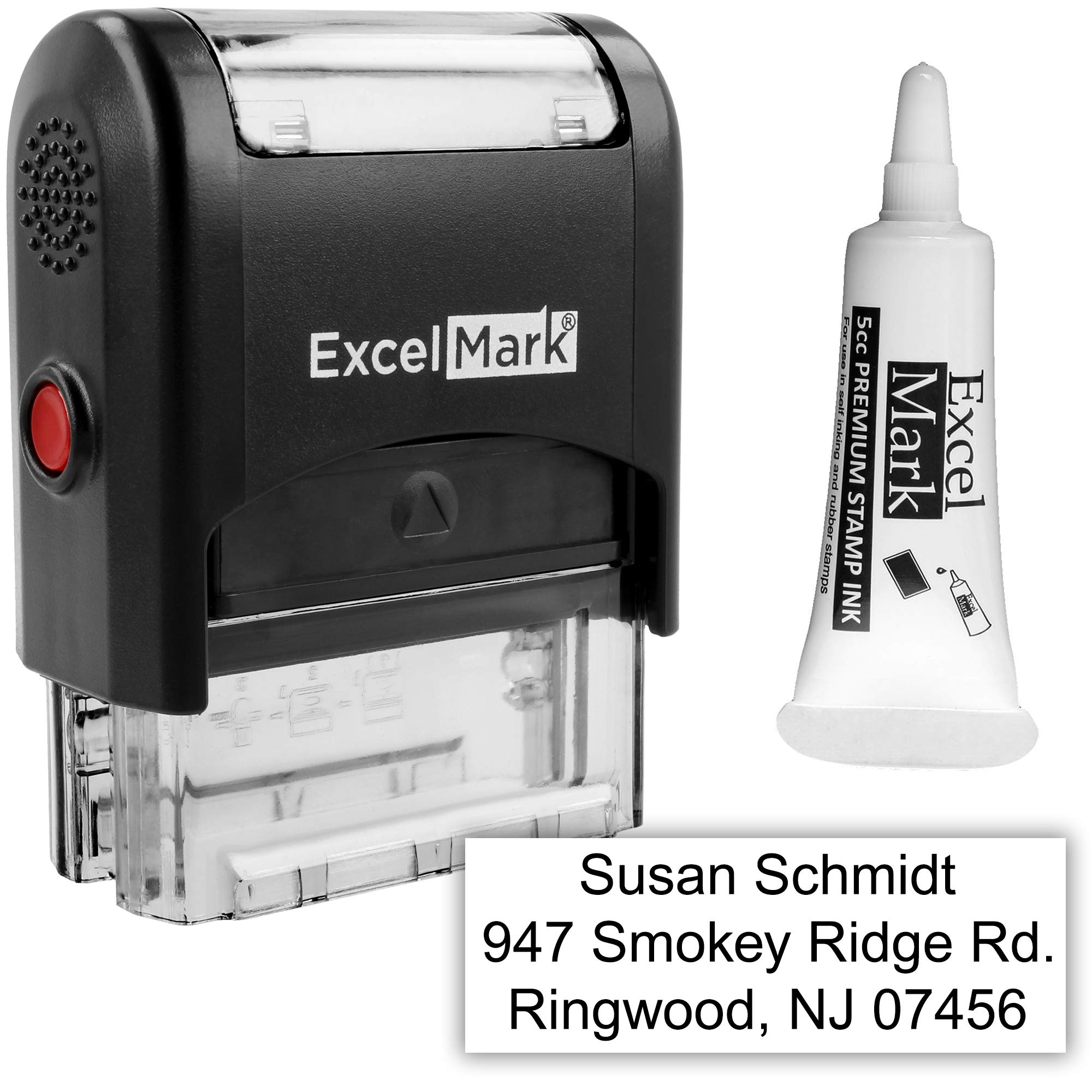 Custom Self Inking Rubber Stamp - 3 Lines - with Ink Bottle 5cc (A1539) by ExcelMark