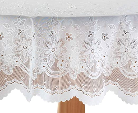 """Miles Kimball White Vinyl Lace Tablecloth 60/"""" X 90/"""" Oval 60/"""" x 90/"""" White"""