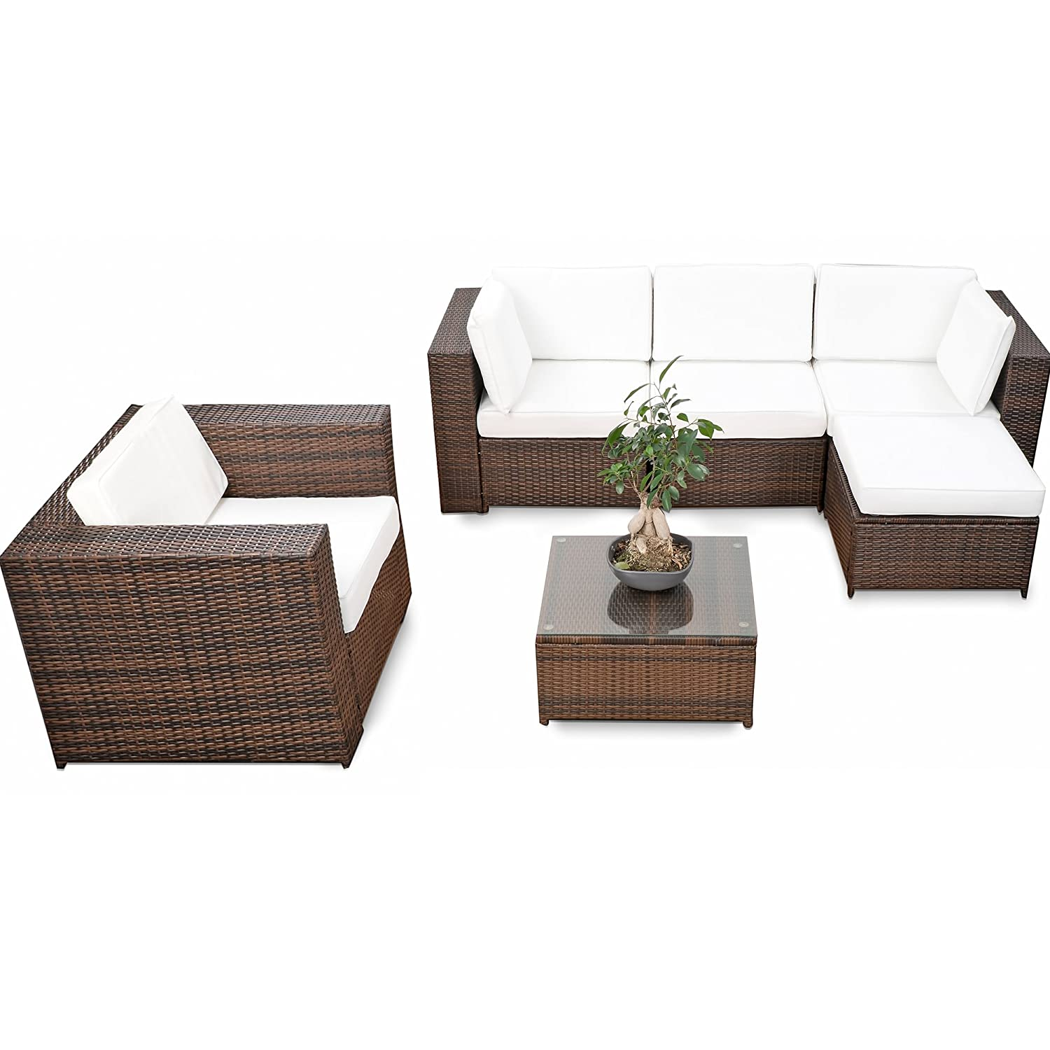 erweiterbares 18tlg eck lounge set polyrattan braun mix garnitur gartenm bel sitzgruppe. Black Bedroom Furniture Sets. Home Design Ideas