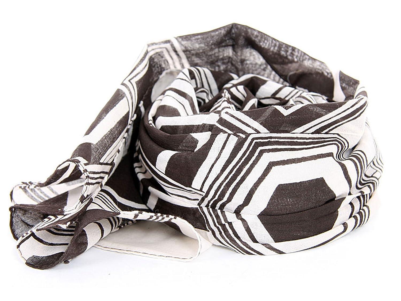 MOKA's Womens Hexagon Print Cotton Scarf in Black/White 20x72 inches
