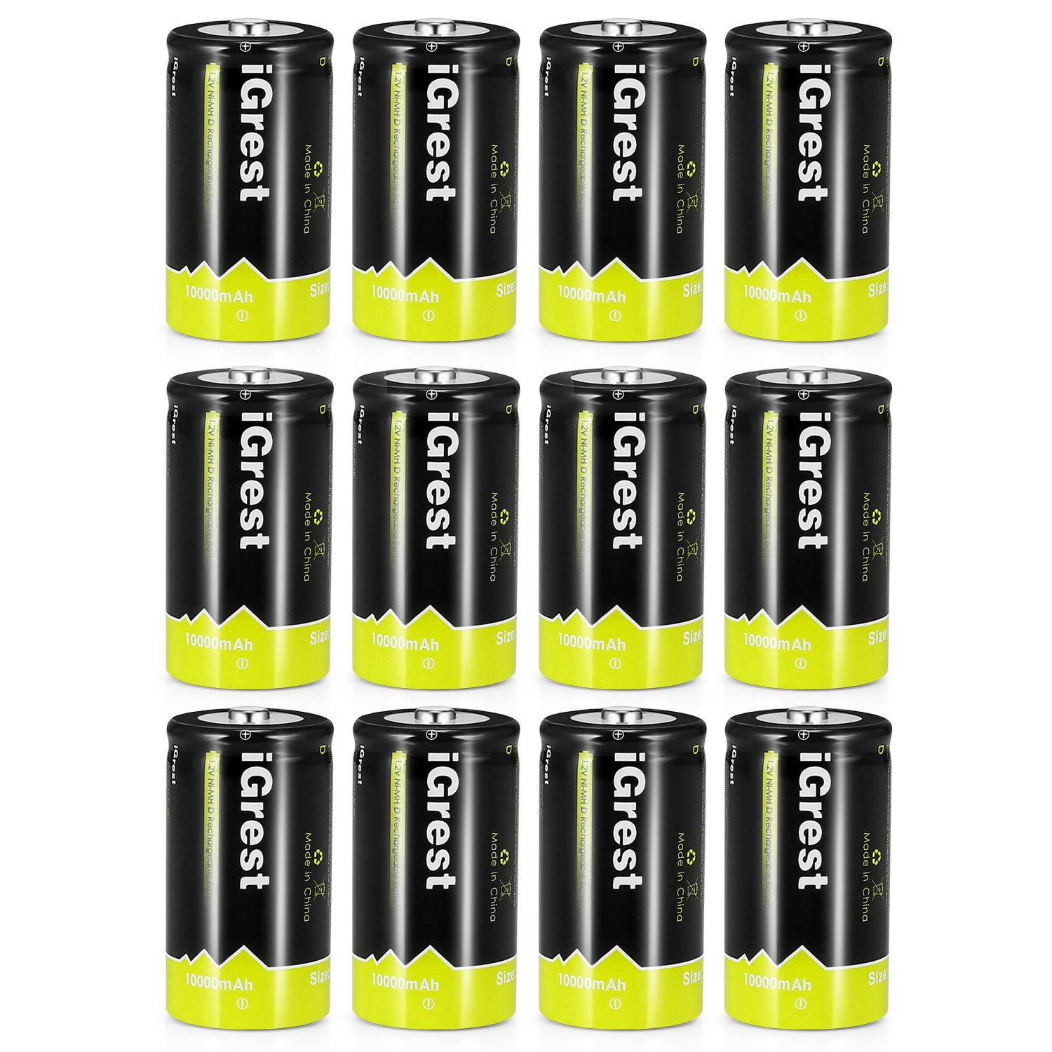 iGrest Rechargeable D Batteries 10000mAh Ni-MH D Size Cell Battery with Box (12 Pack)