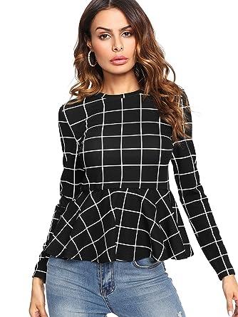 be67c47081d Romwe Women s Elegant Long Sleeve Ribbed Knit Ruffle Hem Peplum Top Black- Grid XS