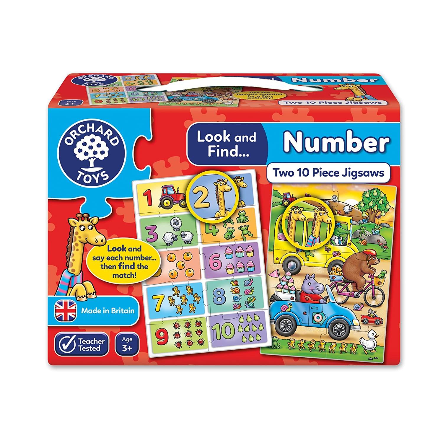 Orchard Toys Look and Find Number Children's Activity Jigsaws Multi 2 x 10 Piece