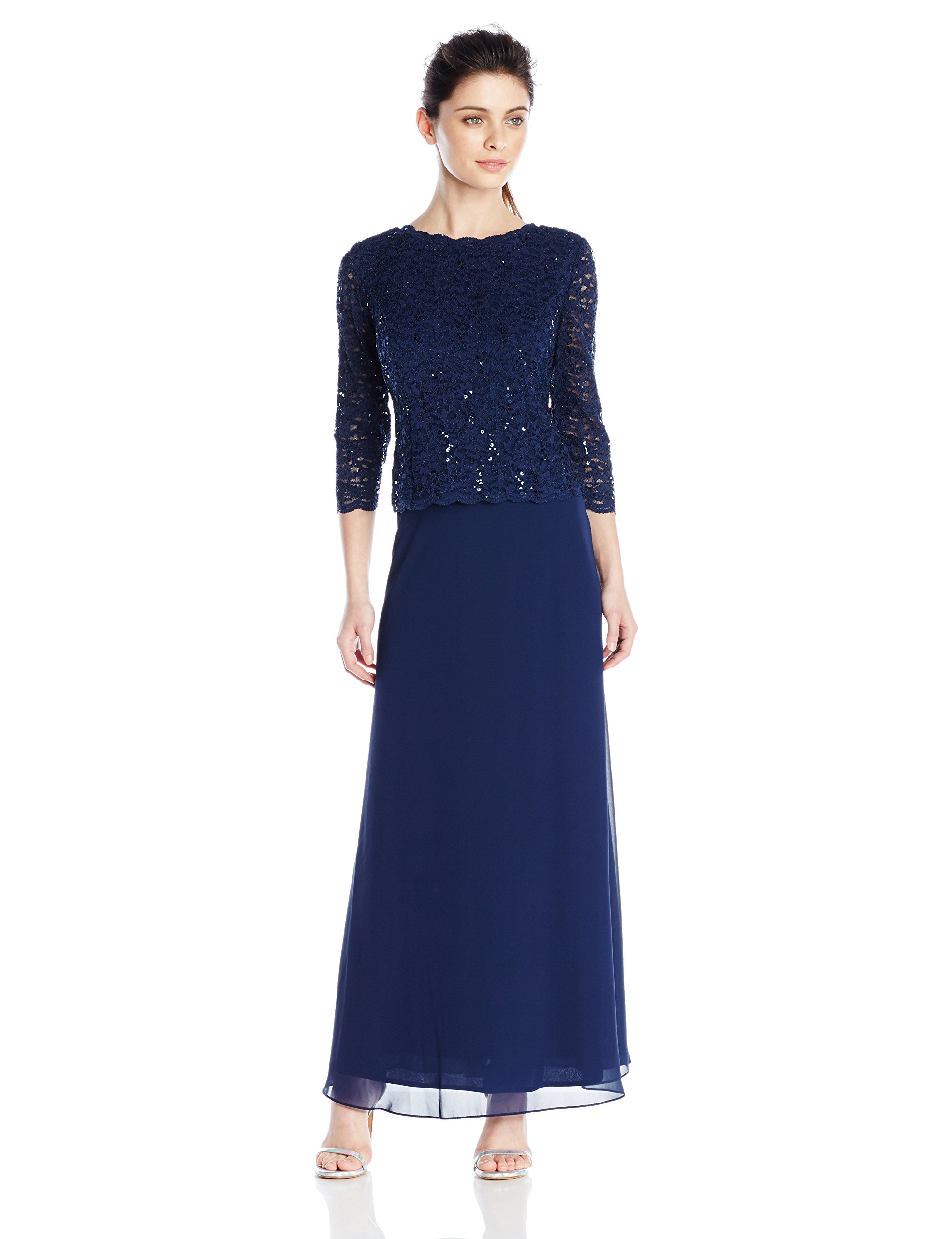 Alex Evenings Women's Long Mock Dress With Lace Sleeves (Regular Sizes), Navy, 14 Petite