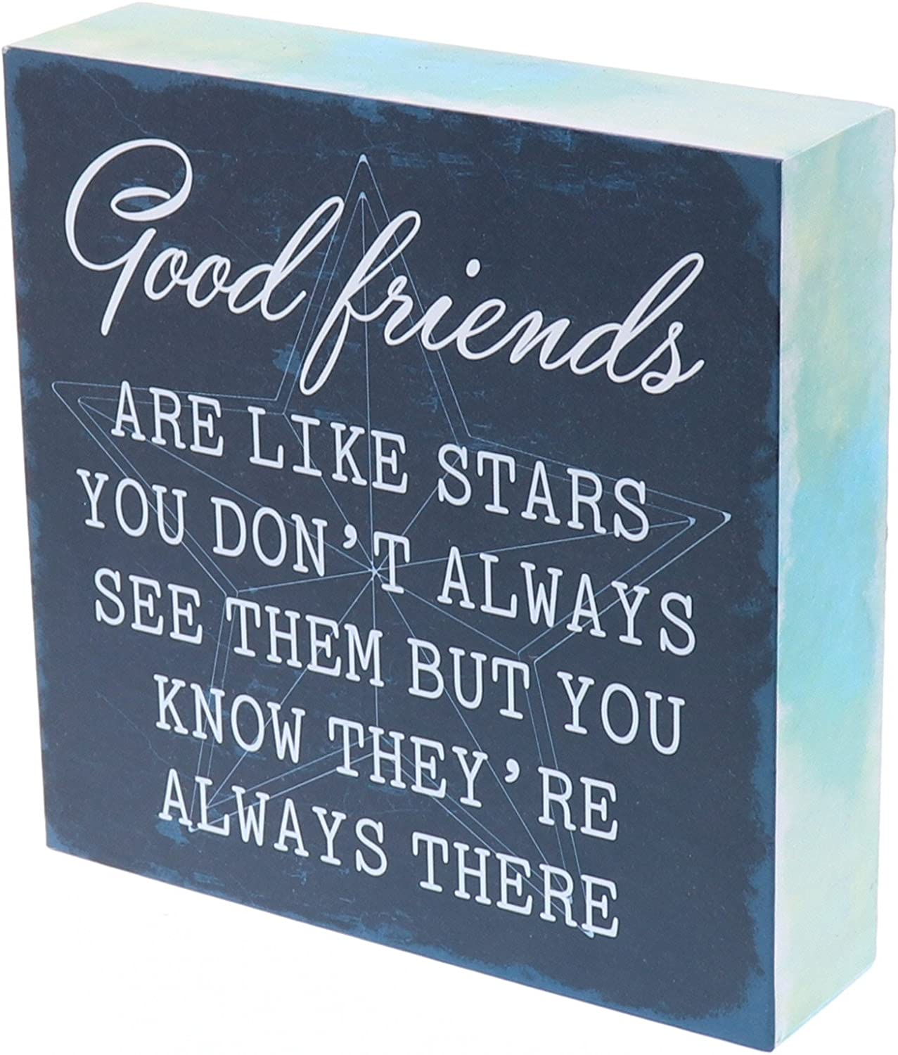 "Barnyard Designs Good Friends are Like Stars Box Wall Art Sign, Primitive Country Farmhouse Home Decor Sign with Sayings 6"" x 6"""