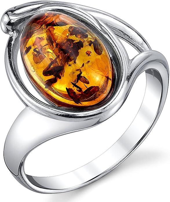 Ultimate Metals Co./® Bague en Argent Sterling avec ambre baltique Int/érieur Confort Pour Femme