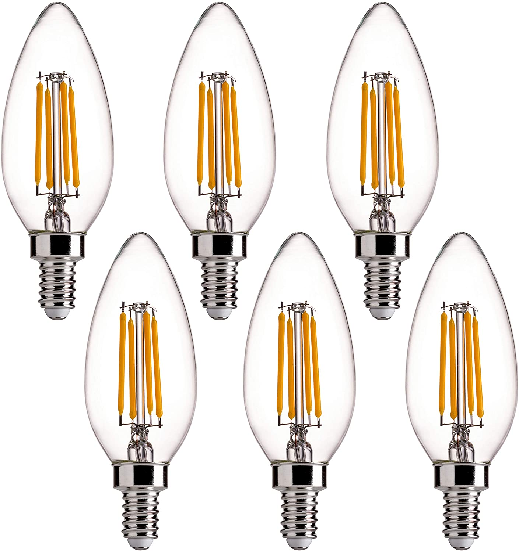 LED Candelabra Bulb Dimmable 60 Watt Equivalent B11 E26 2700K Soft Warm 6Pack