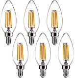 FLSNT B11 LED Candelabra Bulbs 40W Equivalent,E14 Screw Base,2700K Soft White,4W,430LM,Clear Glass,Non-Dimmable,Pack of…