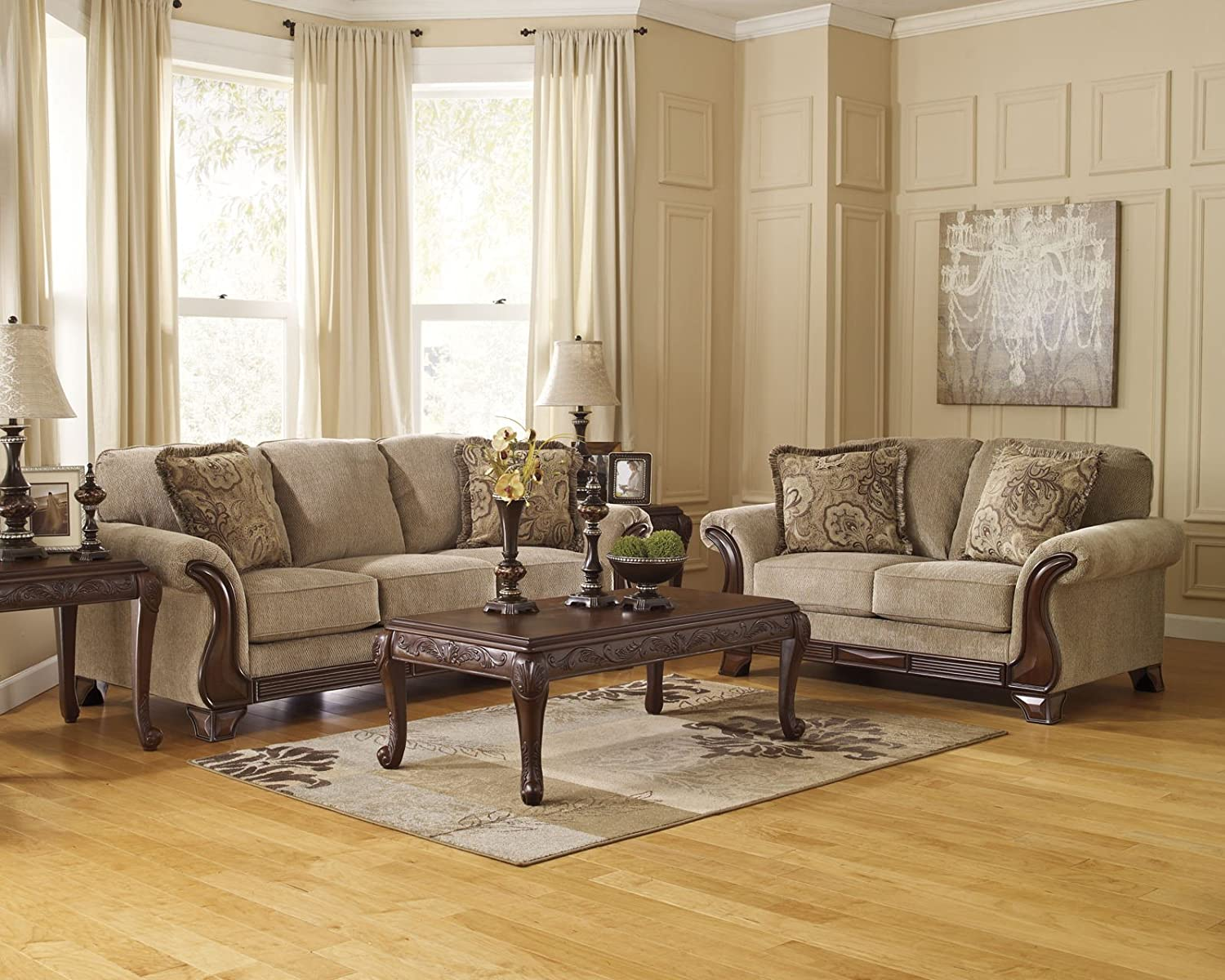 Amazon.com: Ashley Furniture Signature Design   Lanett Sofa   3 Seat  Traditional Couch With Oversized Pillow Back   Barley: Kitchen U0026 Dining