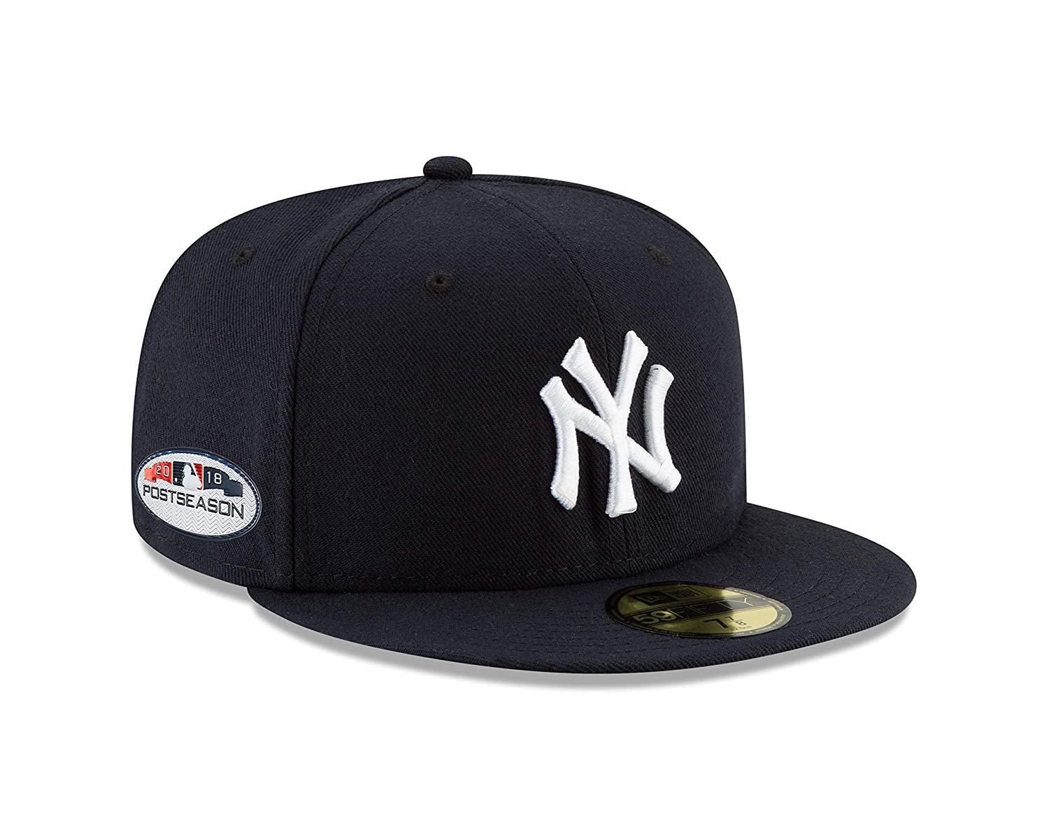 newest d3dc5 1cdd2 Amazon.com   New Era New York Yankees 2018 Postseason Side Patch 59FIFTY  Fitted Hat - Navy (7 1 8)   Sports   Outdoors