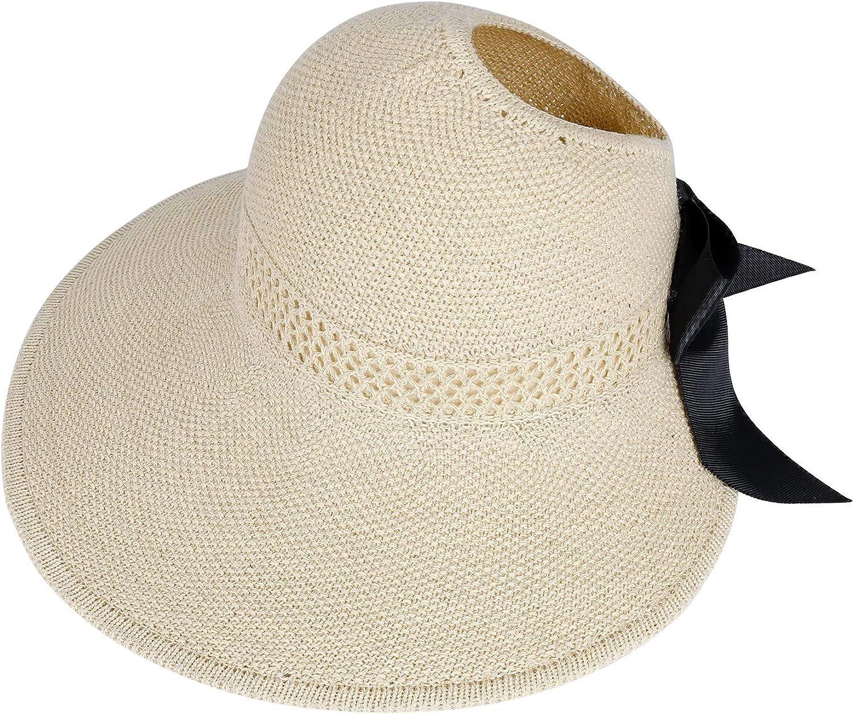 Sombrero Sol de Paja de Las Mujeres Verano Playa Pamelas Algodón Protección ala Ancha UV Gorro Plegable con Bowknot, Trenzado para Viajes Decoración Vacaciones