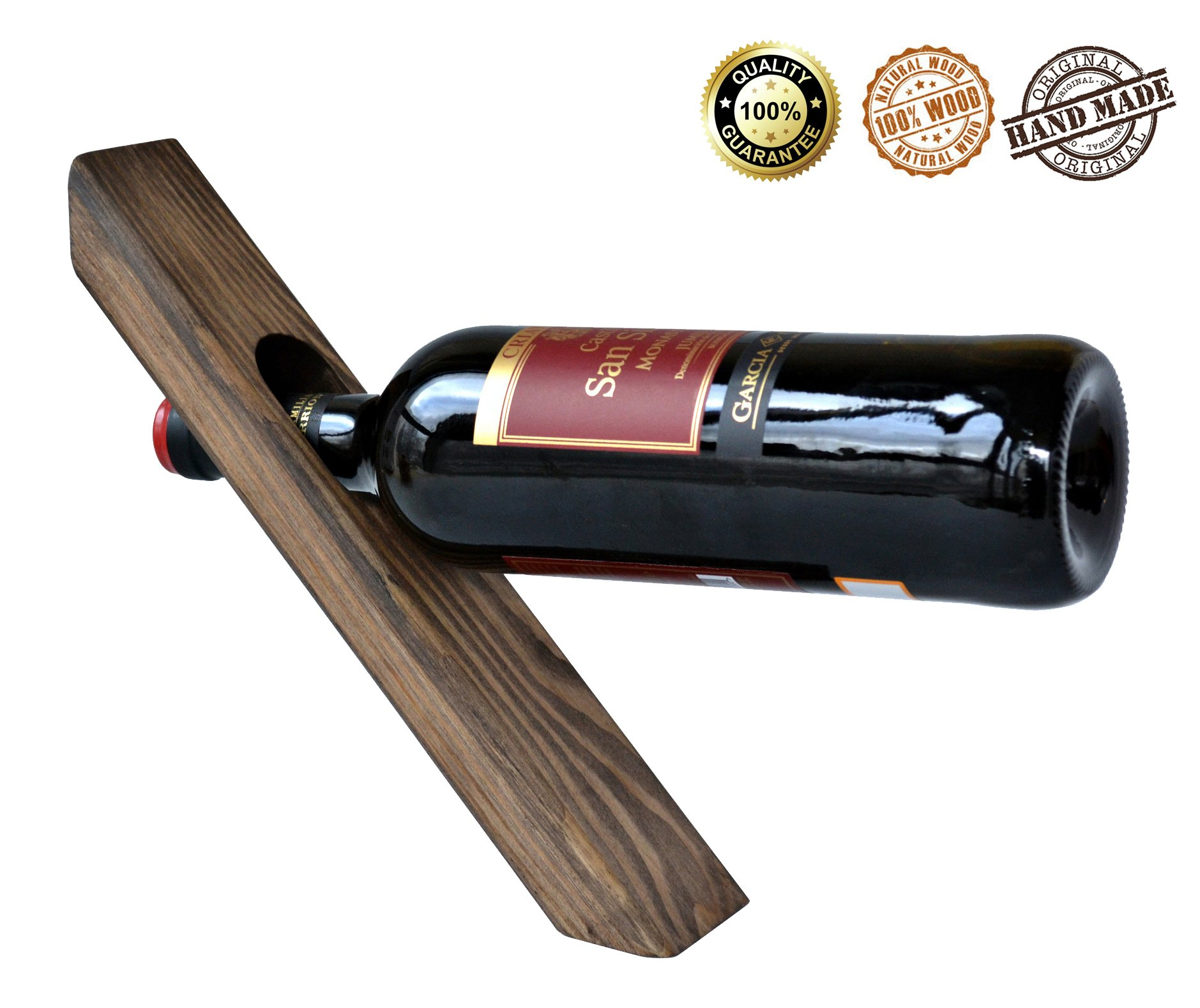 Wood Wine Balancing Holder Gravity Defying Bottle Pine Free Standing Rack Decorative Accessory