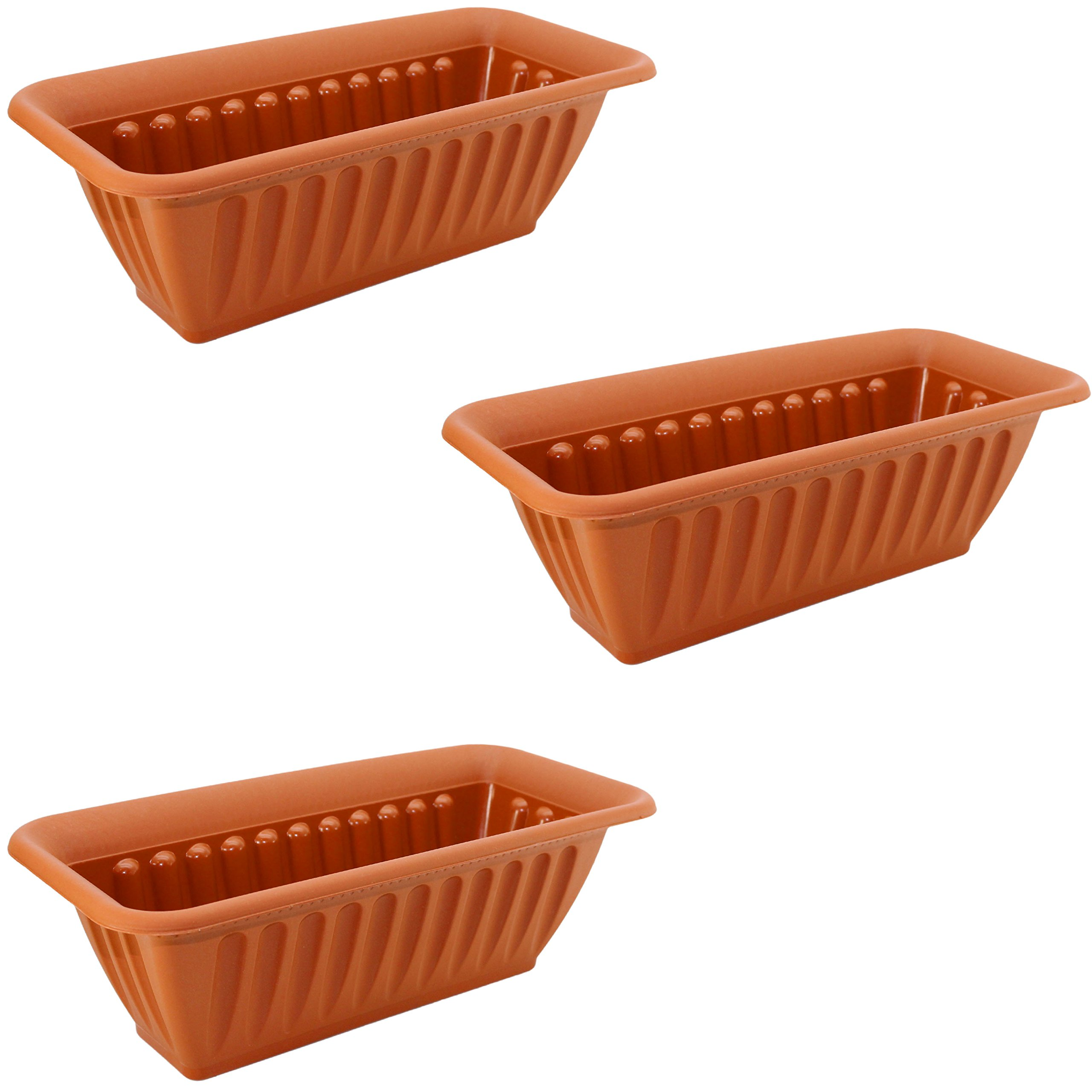 Set of 3 Decorative Plastic Rectangular Planters (Terra Cotta) by Regent