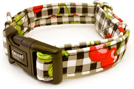 1//2 Inch Adjustable Nylon Pet Collar White with Brown Paws Handmade New 2 Sizes