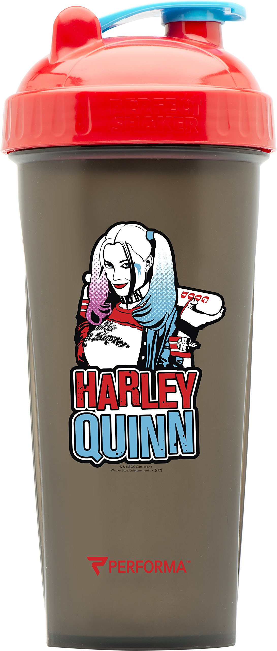 Performa Perfect Shaker - Justice League Movie Series, Leak Free Bottle With Actionrod Mixing Technology For Your Sports & Fitness Needs! Dishwasher and Shatter Proof (Harley Quinn)
