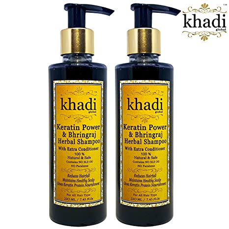 Khadi Global Keratin Power & Bhringraj Herbal Hair Shampoo With Extra  Conditioner 100% Natural & Safe No SLS No Parabens Pack Of 2 (Total 440 ml)