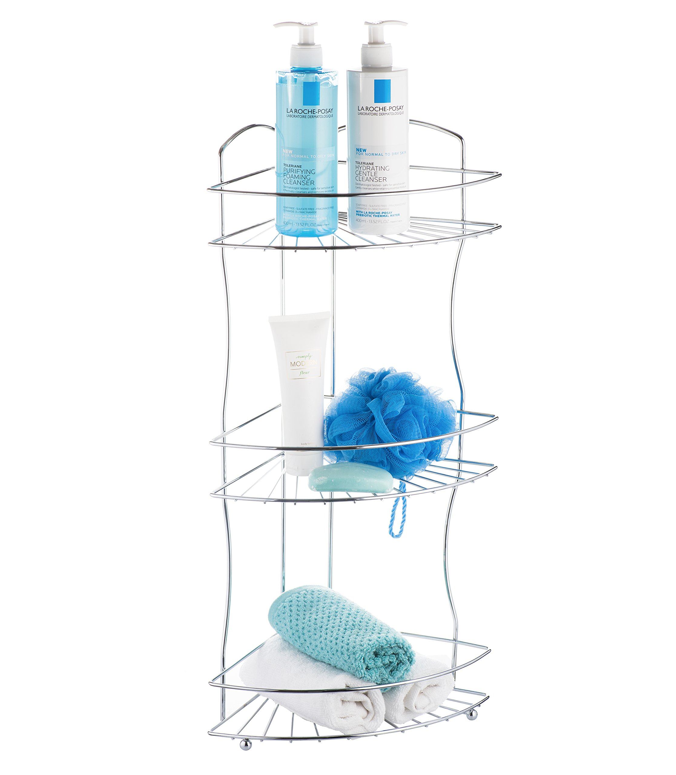 AMG and Enchante Accessories Free Standing Bathroom Spa Tower Floor Caddy, FC232-A CHR, Chrome