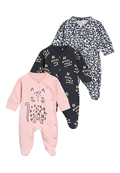 next Bebé-Niñas Pack De Tres Pijamas Tipo Pelele De Leopardo (0 Meses - 2 Años) Rosa/Gris 1.5-2 Años: Amazon.es: Ropa y accesorios