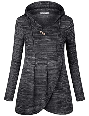 04651f6b SeSe Code Hoodies for Women Pullover Sweatshirt Long Sleeve Shirt Loose  Fitted Cool Fall Clothes Pleated