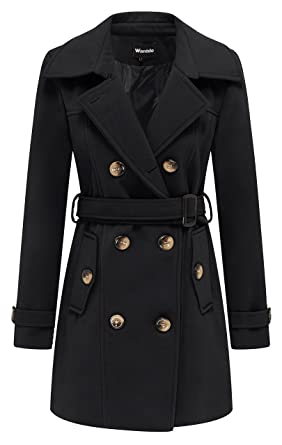 Wantdo Women s Winter Double Breasted Pea Coat with Belt with Waistband  Black Small e0a8ed7c3